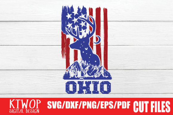 Download Free Usa X Animal Deer Ohio Fourth Of July Graphic By Ktwop for Cricut Explore, Silhouette and other cutting machines.