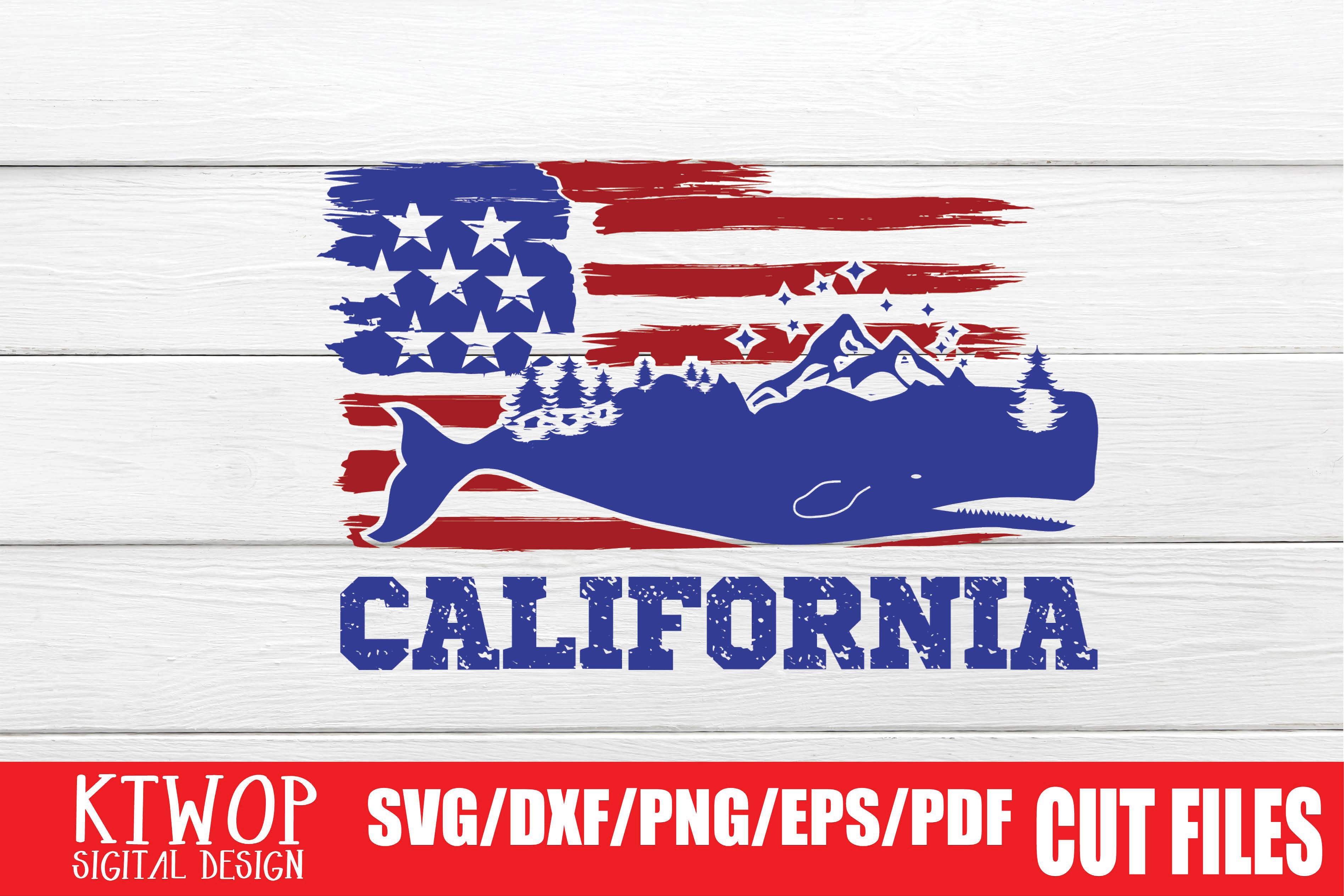 Download Free Usa X Animal Whale California 4th July Graphic By Ktwop for Cricut Explore, Silhouette and other cutting machines.