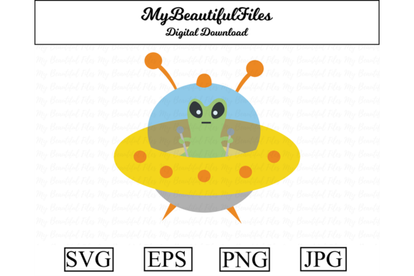 Download Free Ufo Alien Kawaii Clipart Graphic By Mybeautifulfiles Creative for Cricut Explore, Silhouette and other cutting machines.