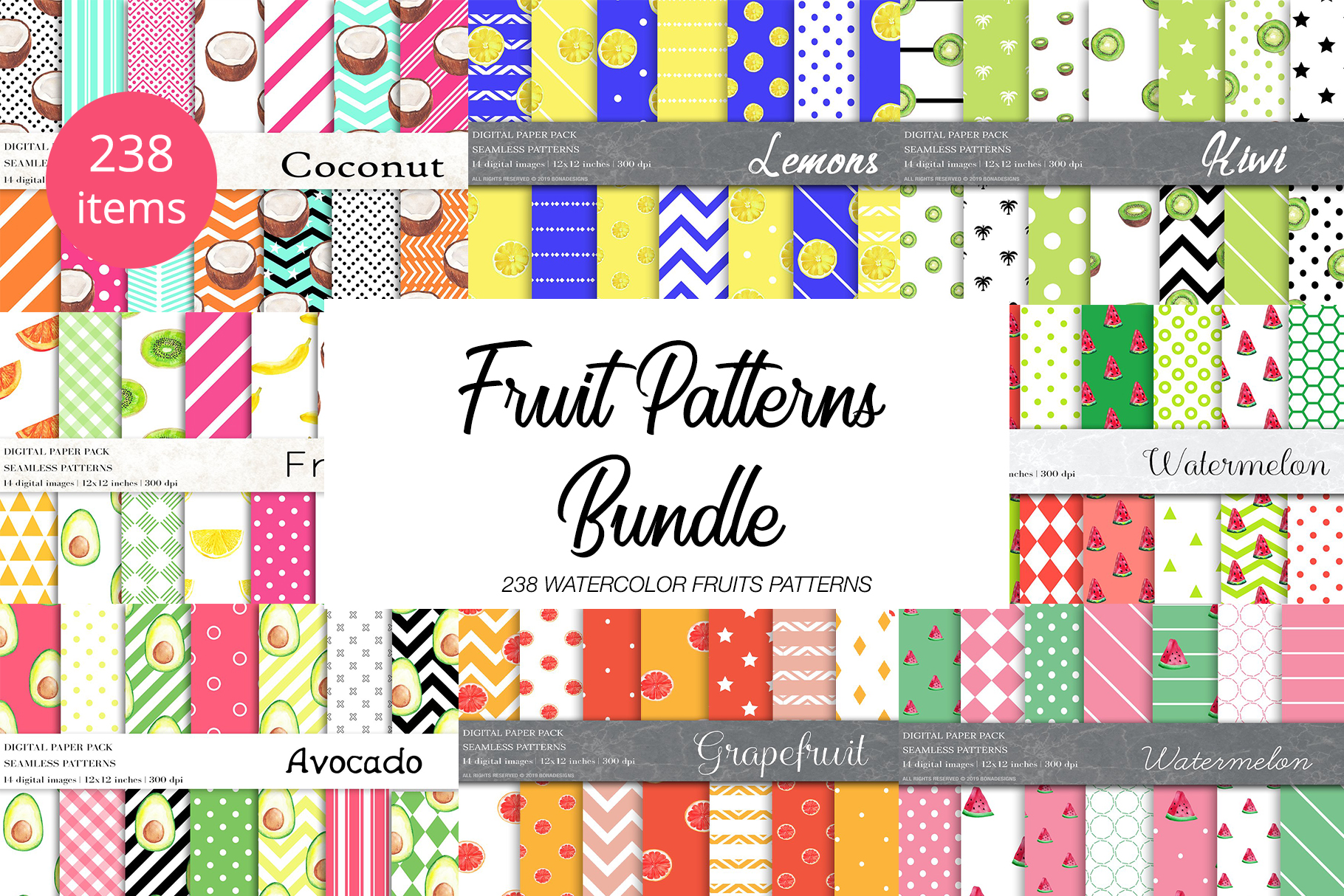 Download Free Watercolor Fruit Patterns Bundle Graphic By Bonadesigns for Cricut Explore, Silhouette and other cutting machines.