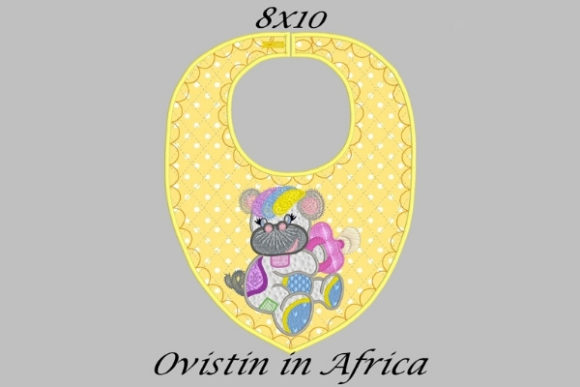 Yellow Baby Hippo Bib Nursery Embroidery Design By Ovistin in Africa