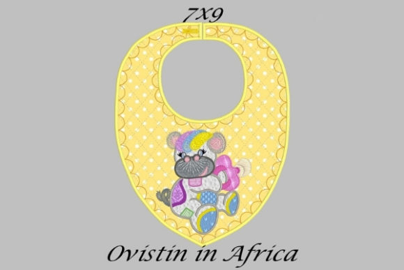 Yellow Baby Hippo Bib Small Nursery Embroidery Design By Ovistin in Africa - Image 1