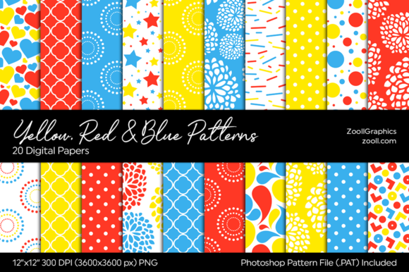 Yellow, Red and Blue Digital Papers Graphic Patterns By ZoollGraphics
