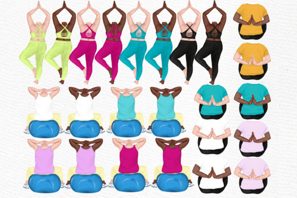 Yoga Plus Size Girls Clipart Graphic Illustrations By LeCoqDesign - Image 2