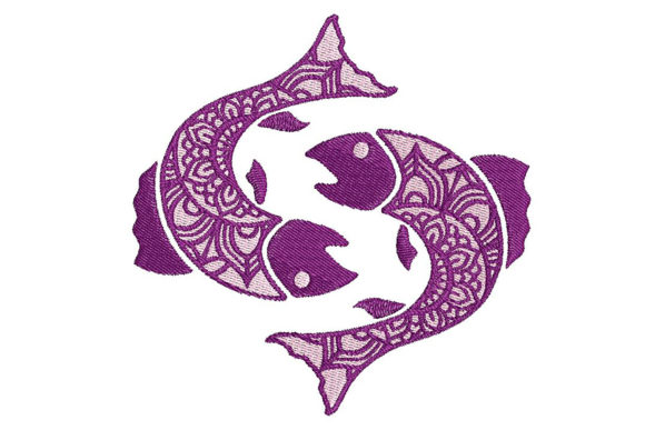 Print on Demand: Zodiac Pisces Mandala Style Fish & Shells Embroidery Design By Embroidery Shelter