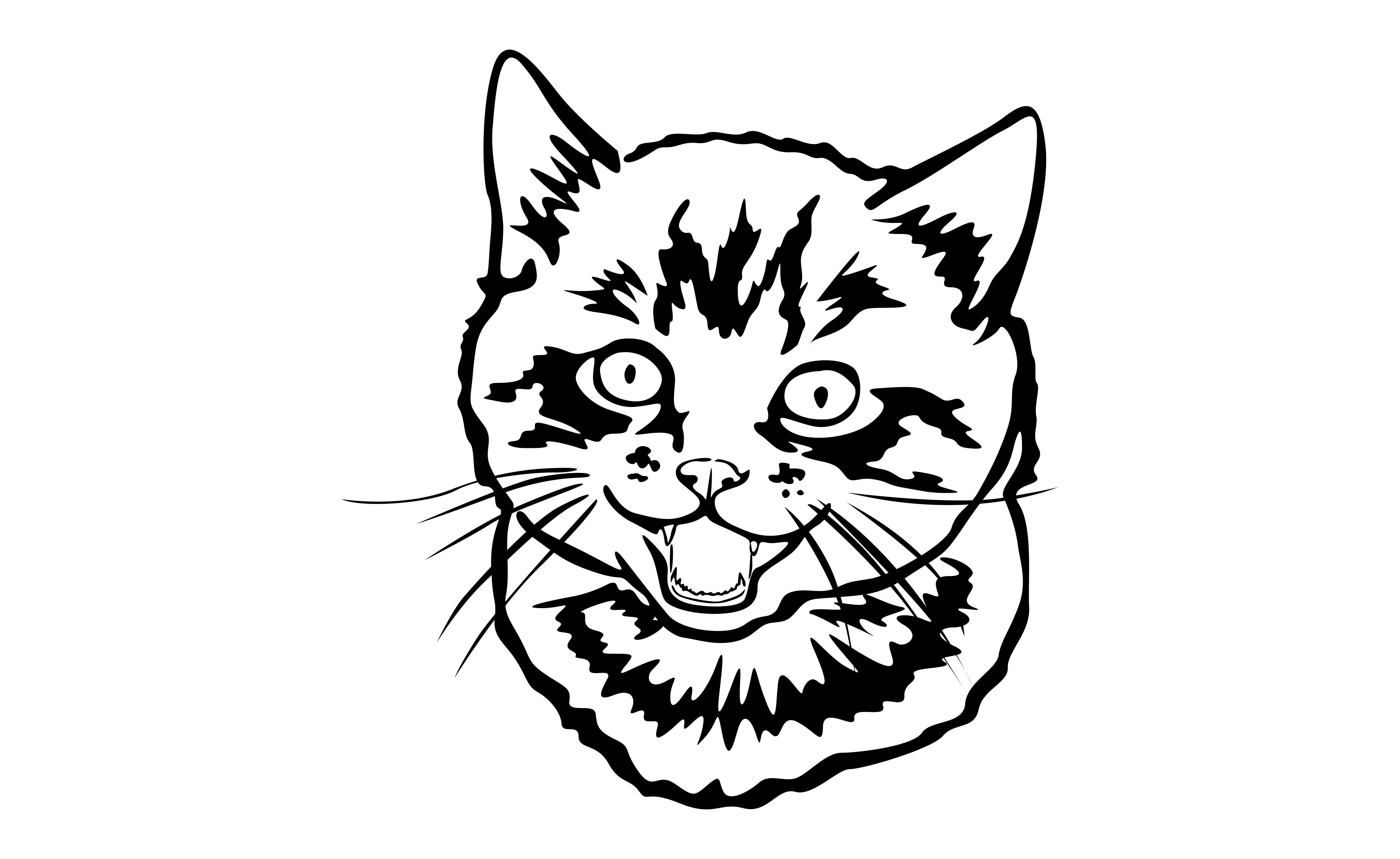 Download Free Cute Face Cat With Black Line Art Style Graphic By Arief Sapta for Cricut Explore, Silhouette and other cutting machines.