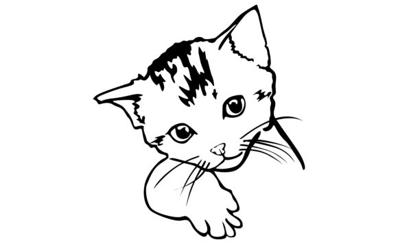 Print on Demand: Cute Face Cat with Black Line Art Style Graphic Crafts By Arief Sapta Adjie