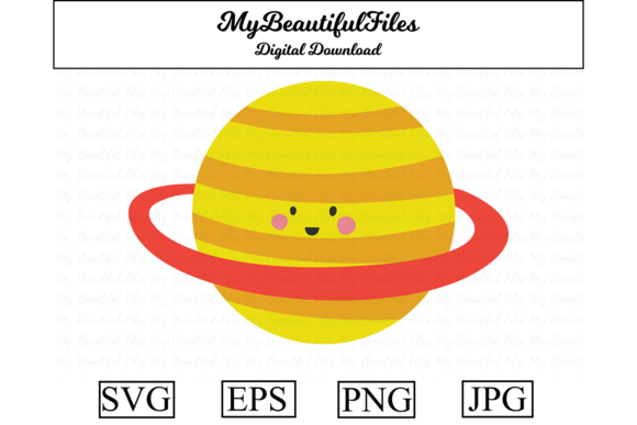 Download Free Saturn Space Kawaii Clipart Graphic By Mybeautifulfiles for Cricut Explore, Silhouette and other cutting machines.