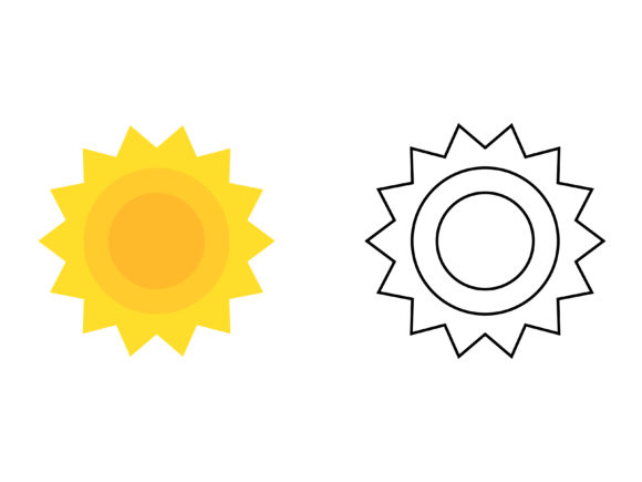 Download Free Sun Kids Coloring Vector Graphic By 1tokosepatu Creative Fabrica for Cricut Explore, Silhouette and other cutting machines.
