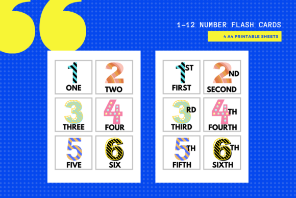 Download Free 1 12 1st 12th Number Flash Cards Graphic By Yumbeehomeschool for Cricut Explore, Silhouette and other cutting machines.