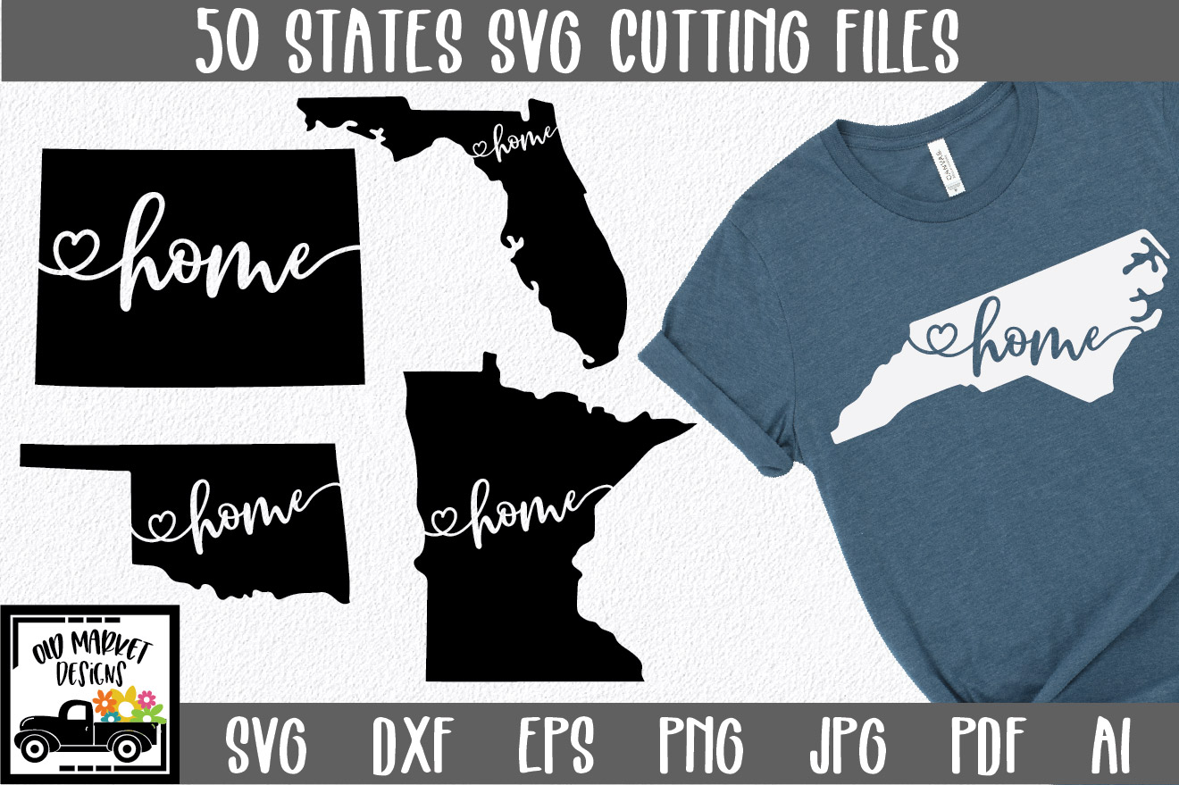 Download Free 50 States Bundle Home State Graphic By Oldmarketdesigns for Cricut Explore, Silhouette and other cutting machines.