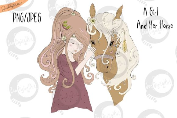 A Girl and Her Horse Graphic Illustrations By Jen Digital Art