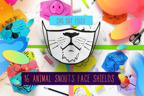 Animals Face Mask Designs  Graphic Crafts By Craft-N-Cuts - Image 1