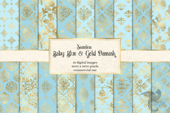 Print on Demand: Baby Blue and Gold Damask Digital Paper Graphic Patterns By Digital Curio