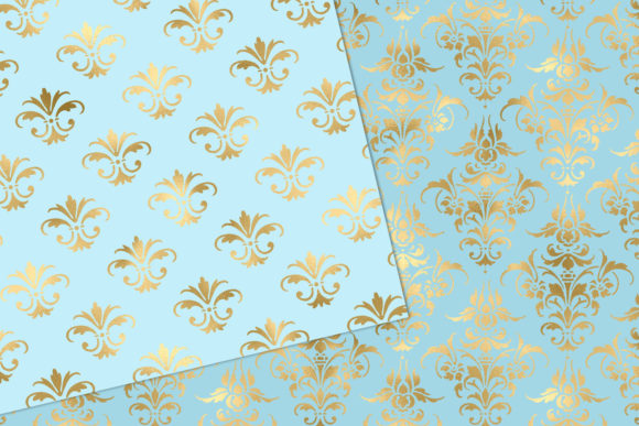 Download Free Baby Blue And Gold Damask Digital Paper Graphic By Digital Curio for Cricut Explore, Silhouette and other cutting machines.