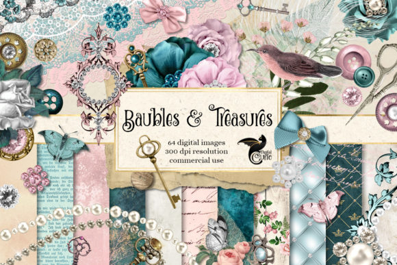 Print on Demand: Baubles and Treasures Graphics Grafik Illustrationen von Digital Curio