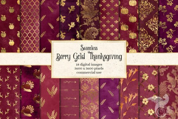 Print on Demand: Berry Gold Thanksgiving Digital Paper Graphic Backgrounds By Digital Curio - Image 1