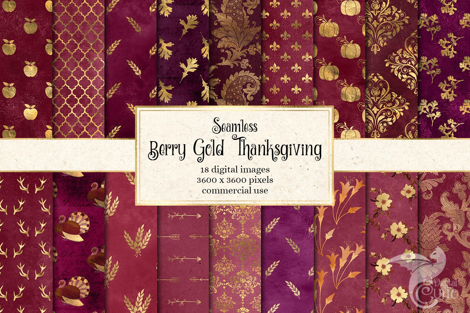 Download Free Berry Gold Thanksgiving Digital Paper Graphic By Digital Curio for Cricut Explore, Silhouette and other cutting machines.