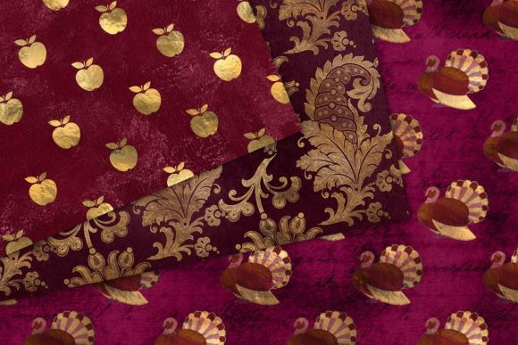 Print on Demand: Berry Gold Thanksgiving Digital Paper Graphic Backgrounds By Digital Curio - Image 3