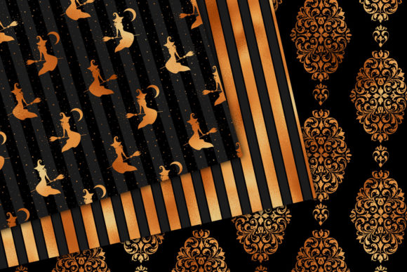 Print on Demand: Black and Copper Digital Paper Graphic Backgrounds By Digital Curio - Image 4