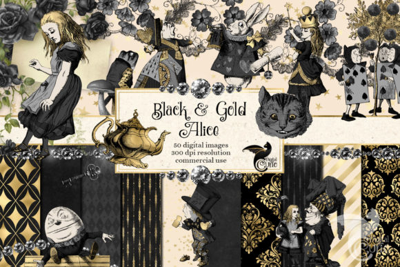 Print on Demand: Black and Gold Alice Wonderland Graphics Grafik Illustrationen von Digital Curio