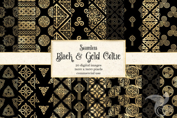 Print on Demand: Black and Gold Celtic Digital Paper Gráfico Fondos Por Digital Curio