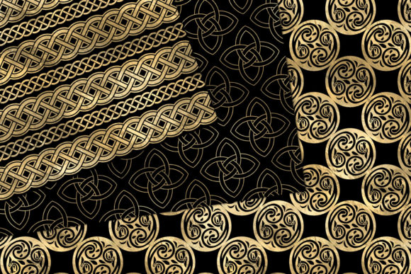 Download Free Black And Gold Celtic Digital Paper Graphic By Digital Curio for Cricut Explore, Silhouette and other cutting machines.