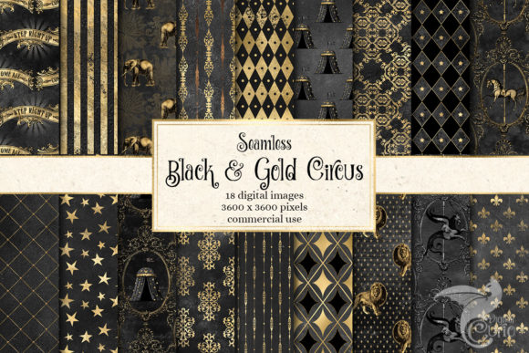 Download Free Black And Gold Circus Digital Paper Graphic By Digital Curio for Cricut Explore, Silhouette and other cutting machines.