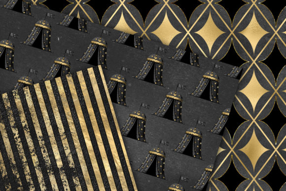 Print on Demand: Black and Gold Circus Digital Paper Graphic Backgrounds By Digital Curio - Image 2