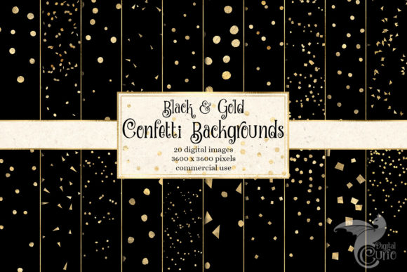Print on Demand: Black and Gold Confetti Digital Paper Gráfico Fondos Por Digital Curio