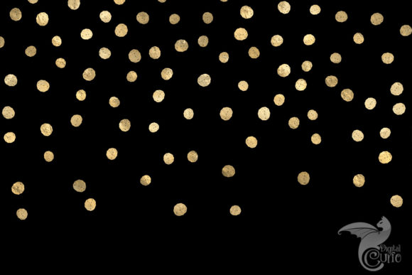 Print on Demand: Black and Gold Confetti Digital Paper Graphic Backgrounds By Digital Curio - Image 2