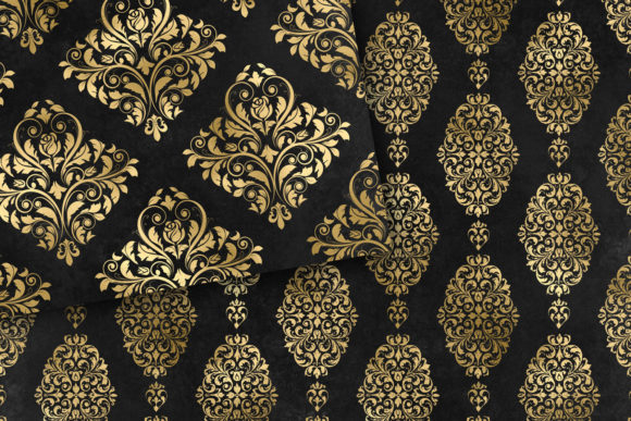 Download Free Black And Gold Damask Digital Paper Graphic By Digital Curio for Cricut Explore, Silhouette and other cutting machines.