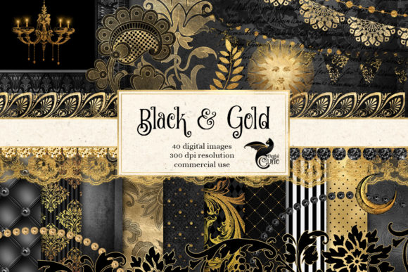 Print on Demand: Black and Gold Graphics Graphic Illustrations By Digital Curio - Image 1
