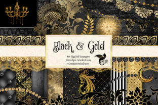 Print on Demand: Black and Gold Graphics Graphic Illustrations By Digital Curio