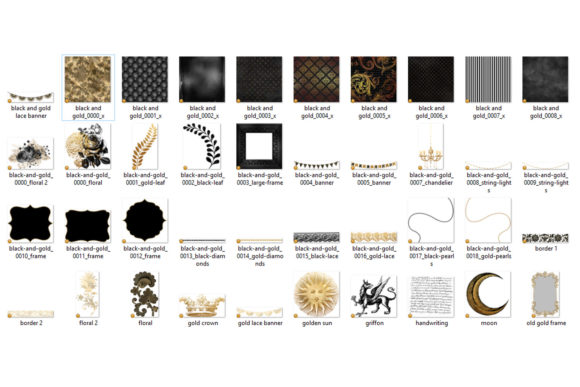 Print on Demand: Black and Gold Graphics Graphic Illustrations By Digital Curio - Image 3