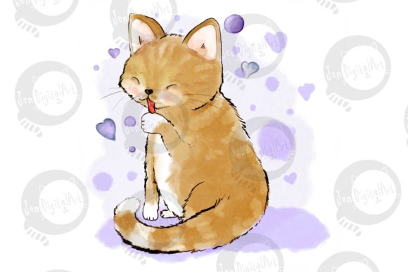Cat Licking Her Paw Graphic Illustrations By Jen Digital Art