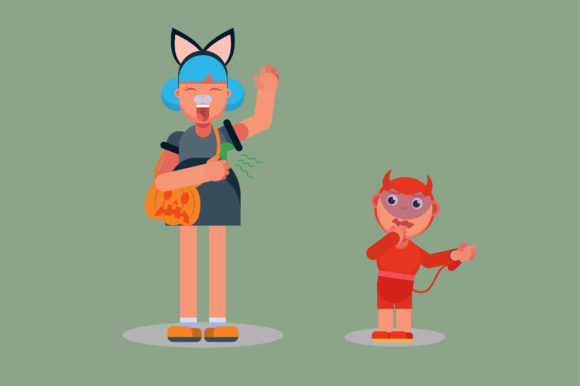 Print on Demand: Character of Kids with Halloween Costume Graphic Illustrations By altumfatih