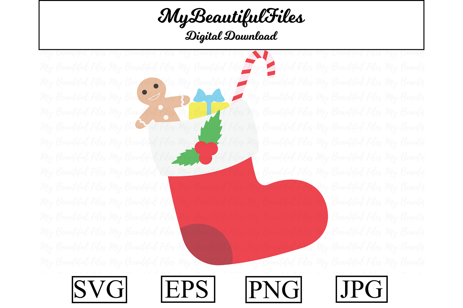 Download Free Christmas Sock Clipart Illustration Graphic By Mybeautifulfiles for Cricut Explore, Silhouette and other cutting machines.