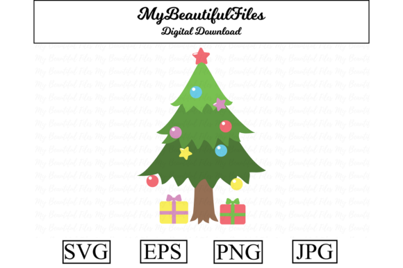 Download Free Christmas Tree Clipart Illustration Graphic By Mybeautifulfiles Creative Fabrica for Cricut Explore, Silhouette and other cutting machines.