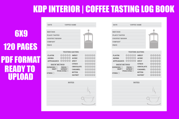 Print on Demand: Coffee Tasting Logbook - KDP Interior Graphic KDP Interiors By Gael