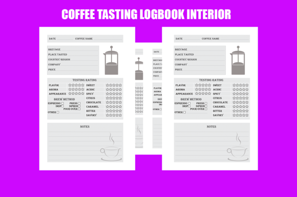 Download Free Coffee Tasting Logbook Kdp Interior Graphic By Gael Creative for Cricut Explore, Silhouette and other cutting machines.