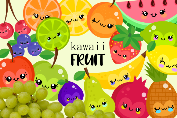 Print on Demand: Cute Kawaii Juicy Summer Fruit Clipart Graphic Illustrations By Prawny