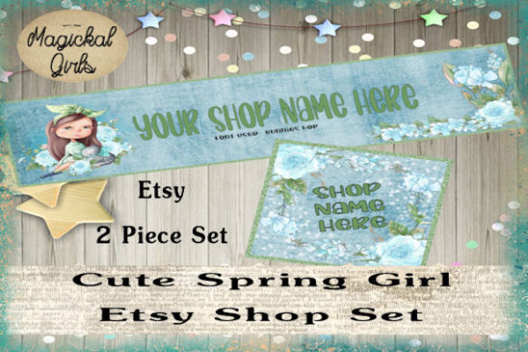 Download Free Cute Spring Girl Shop Banner And Icon Graphic By Magickal Girls for Cricut Explore, Silhouette and other cutting machines.