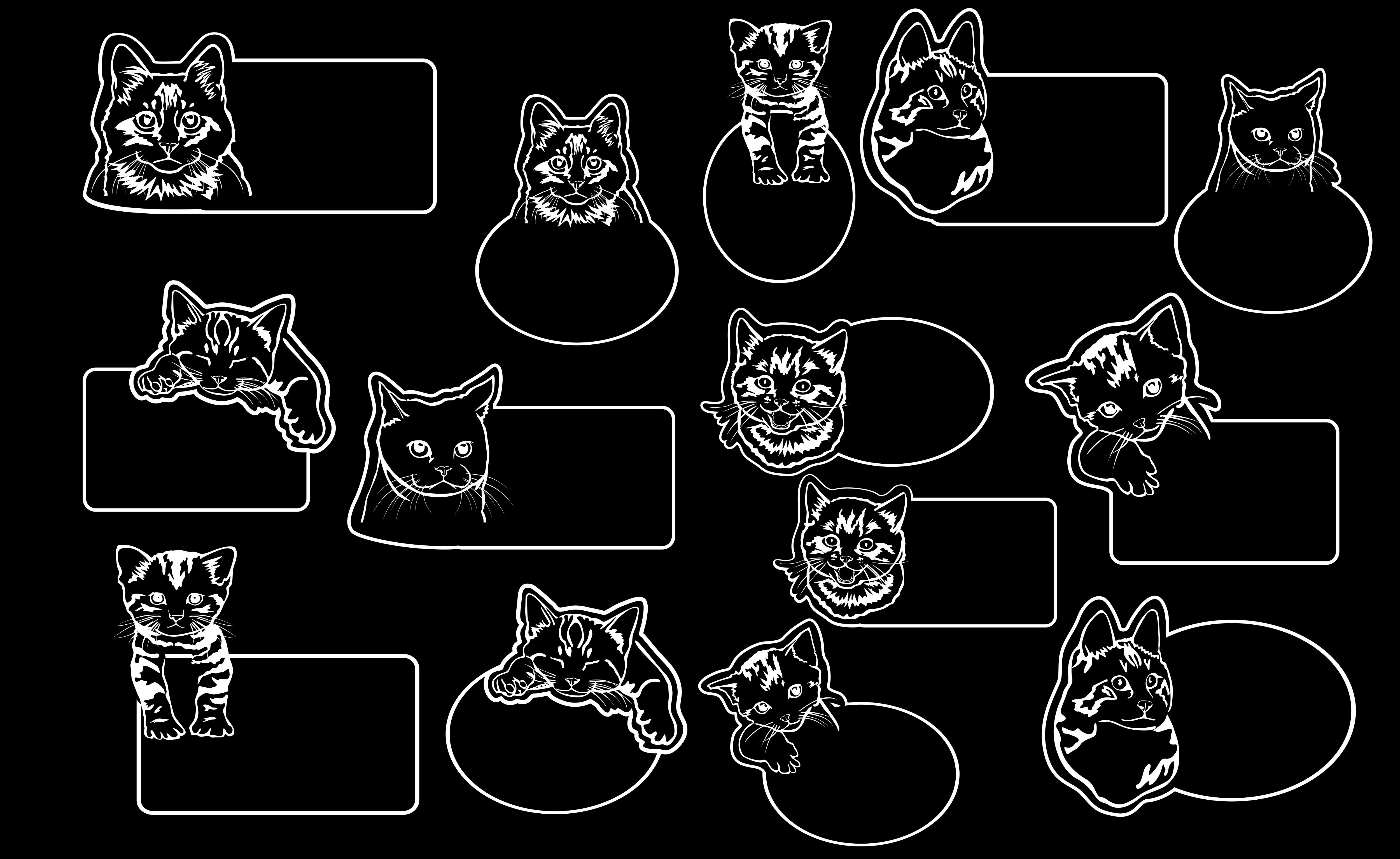 Download Free Cute Cat Face Theme Room Door Hangers Graphic By Arief Sapta for Cricut Explore, Silhouette and other cutting machines.