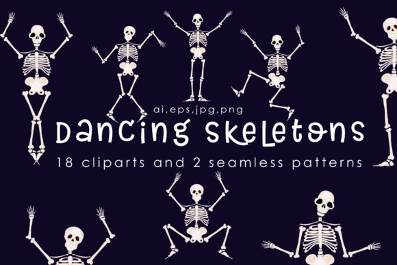 Print on Demand: Dancing Skeletons Clipart Graphic Illustrations By Gennadii ART