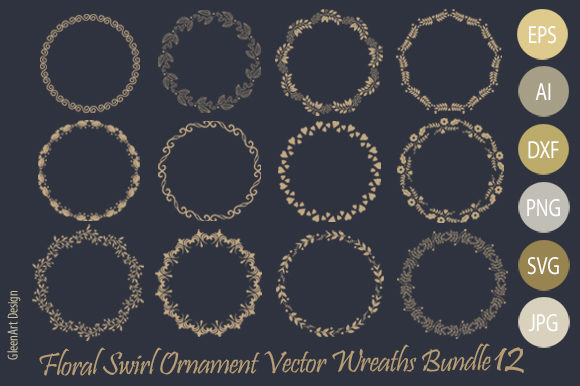 Download Free Decorative Flower Wreath Bundle Graphic By Gleenart Graphic for Cricut Explore, Silhouette and other cutting machines.