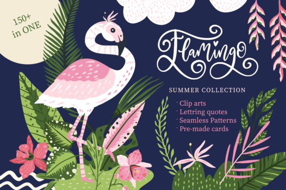 Print on Demand: Flamingo - Big Summer Collection Gráfico Ilustraciones Por Red Ink