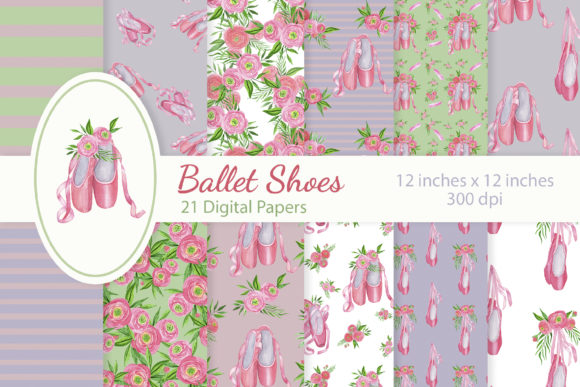 Download Free Floral Ballet Shoes Digital Papers Set Graphic By S Yanyeva Creative Fabrica for Cricut Explore, Silhouette and other cutting machines.