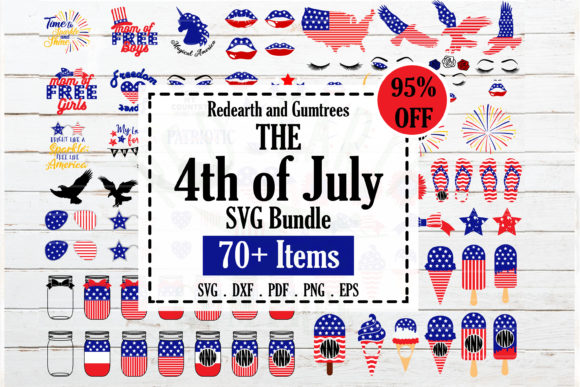Fourth of July Bundle  Grafik Plotterdateien von redearth and gumtrees