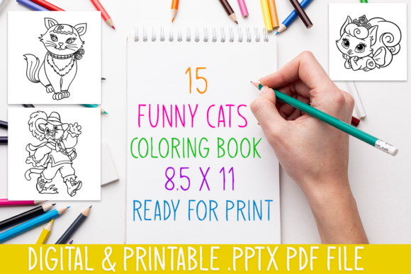 Print on Demand: Funny 15 Cats Coloring Book for Kids Graphic Coloring Pages & Books Kids By DesignsBundles - Image 2
